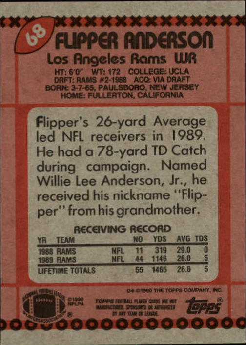 1990 Topps #68 Flipper Anderson back image
