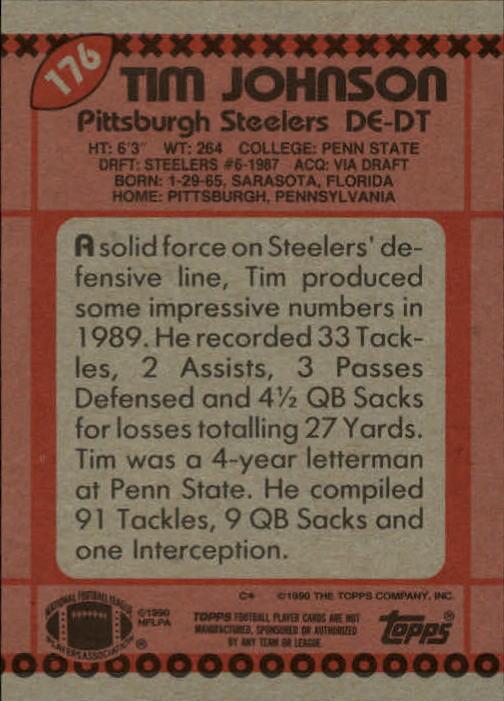 1990 Topps #176 Tim Johnson back image