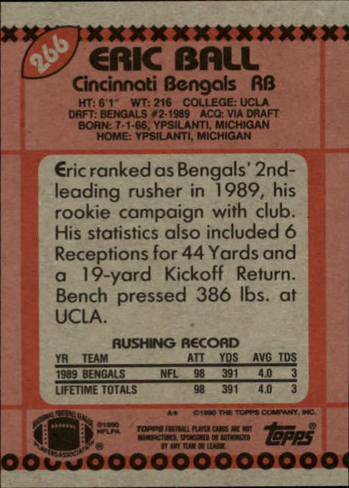 1990 Topps #266 Eric Ball back image