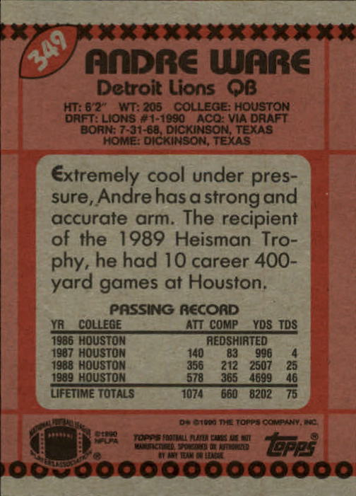 1990 Topps #349 Andre Ware RC back image