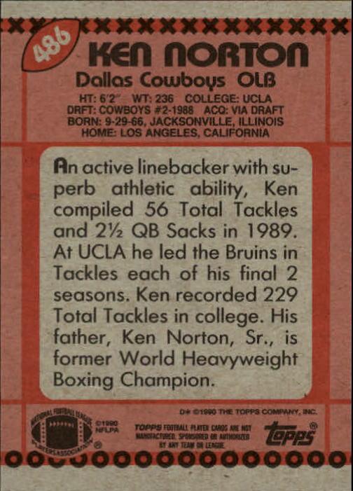 1990 Topps #486 Ken Norton Jr. RC back image