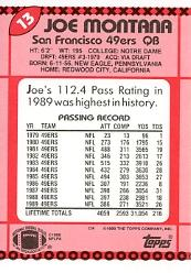 1990 Topps Tiffany #13 Joe Montana back image