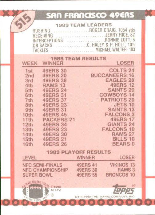 1990 Topps Tiffany #515 49ers TL/Montana/Craig back image