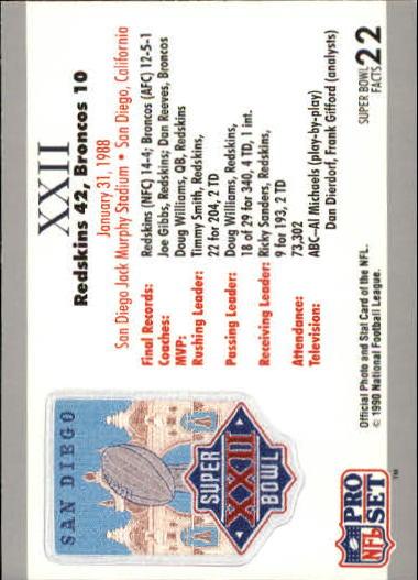 1990-91 Pro Set Super Bowl 160 #22 SB XXII Ticket back image