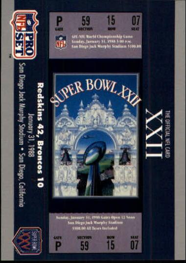 1990-91 Pro Set Super Bowl 160 #22 SB XXII Ticket