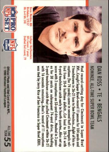 1990-91 Pro Set Super Bowl 160 #55 Dan Ross back image