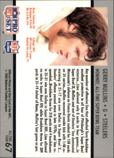 1990-91 Pro Set Super Bowl 160 #67 Gerry Mullins back image