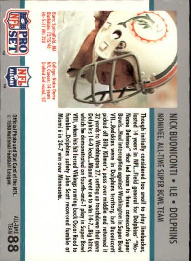 1990-91 Pro Set Super Bowl 160 #88 Nick Buoniconti back image