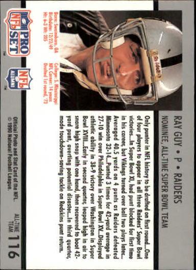 1990-91 Pro Set Super Bowl 160 #116 Ray Guy back image