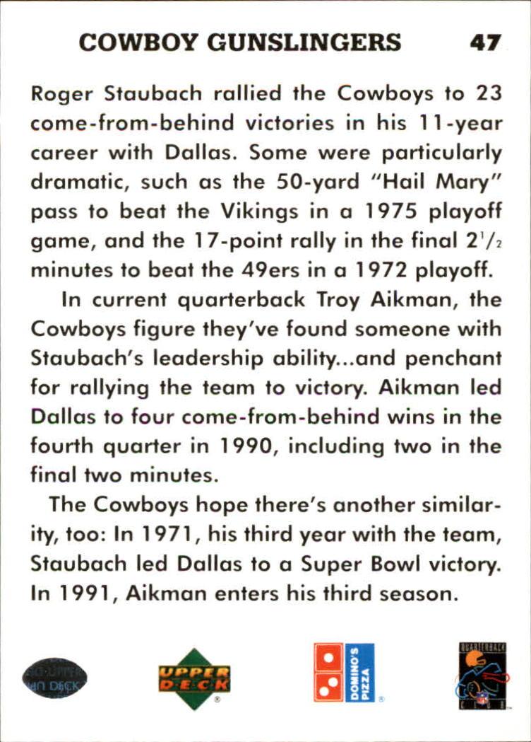 1991 Domino's Quarterbacks #47 Cowboy Gunslingers back image