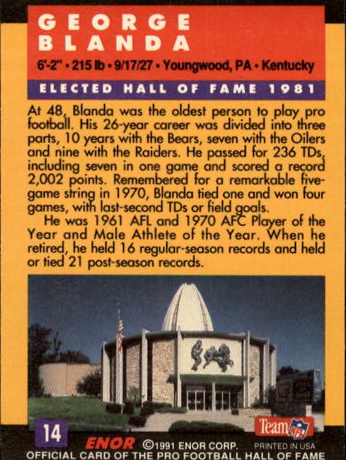 1991 ENOR Pro Football HOF #14 George Blanda back image