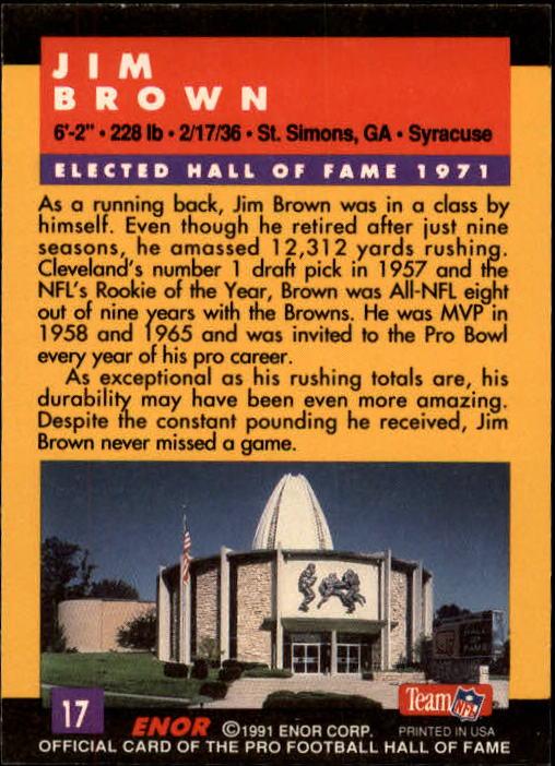 1991 ENOR Pro Football HOF #17 Jim Brown back image