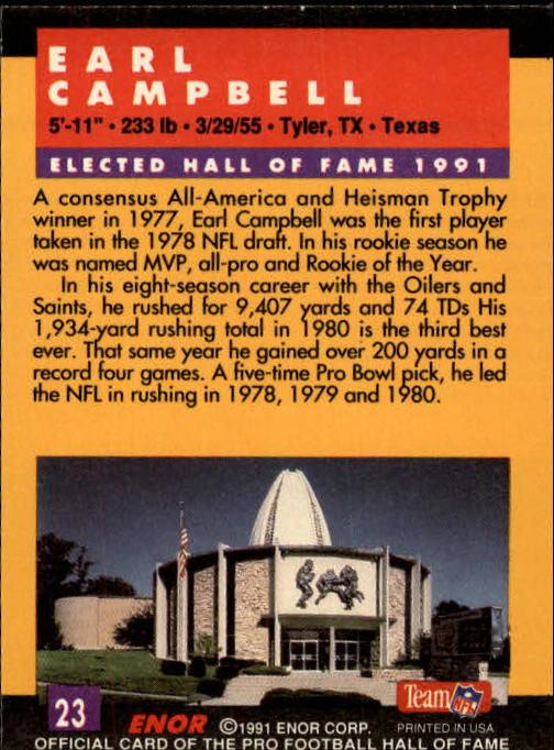 1991 ENOR Pro Football HOF #23 Earl Campbell back image