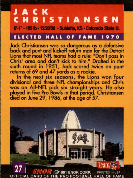 1991 ENOR Pro Football HOF #27 Jack Christiansen back image