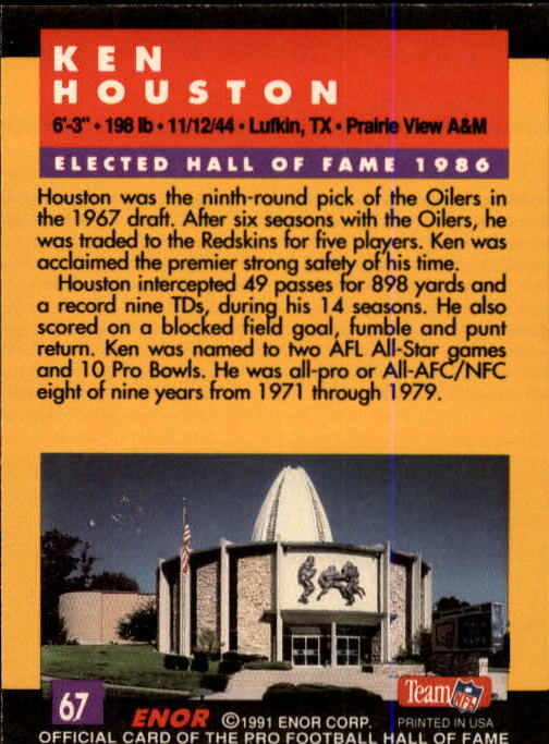 1991 ENOR Pro Football HOF #67 Ken Houston back image