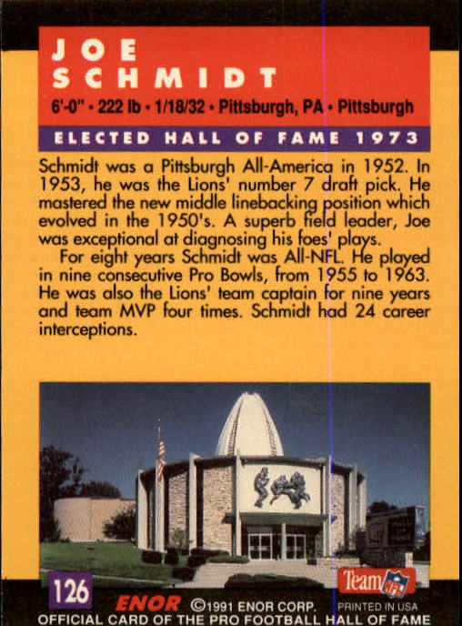 1991 ENOR Pro Football HOF #126 Joe Schmidt back image