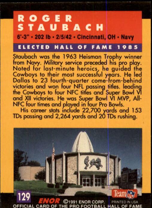 1991 ENOR Pro Football HOF #129 Roger Staubach back image