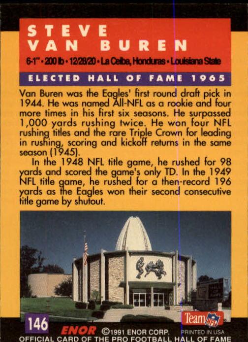 1991 ENOR Pro Football HOF #146 Steve Van Buren back image