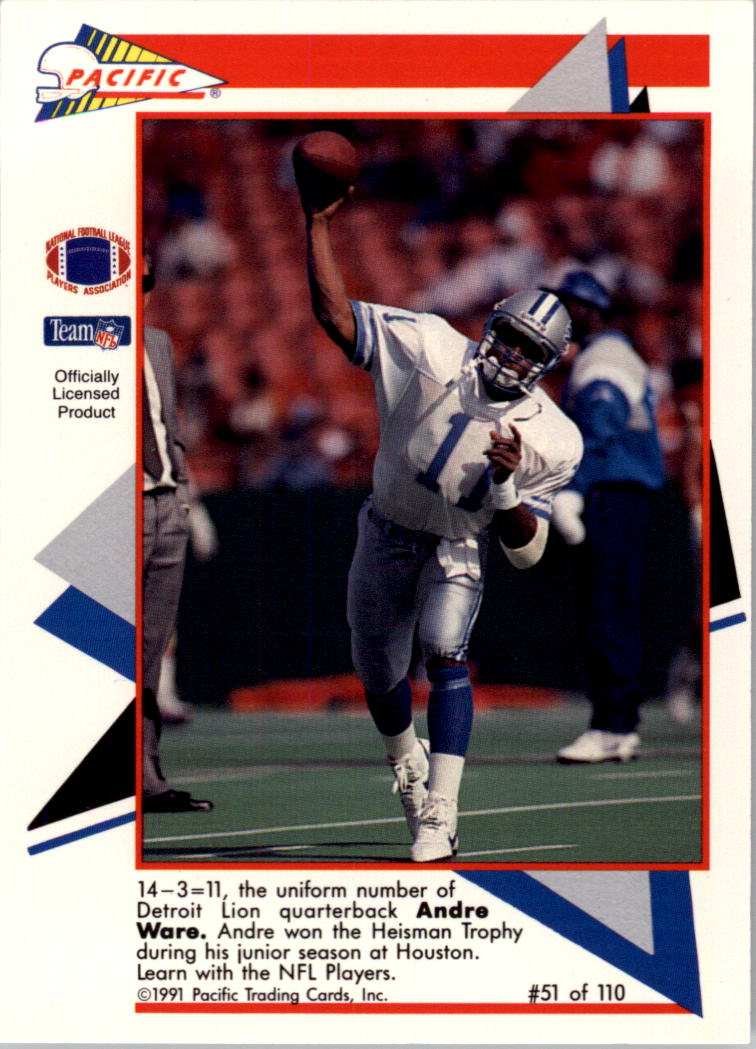 1991 Pacific Flash Cards #51 Andre Ware