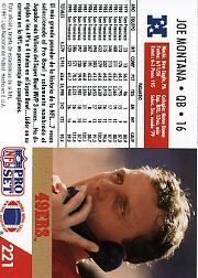 1991 Pro Set Spanish #221 Joe Montana back image