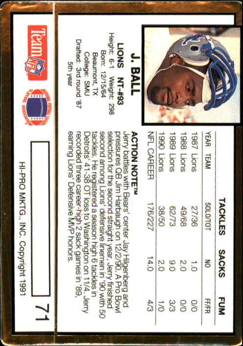 1991 Action Packed #71 Jerry Ball back image