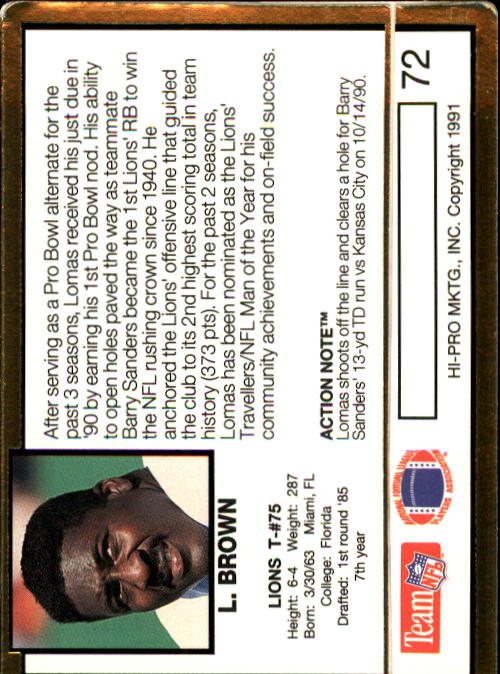 1991 Action Packed #72 Lomas Brown back image