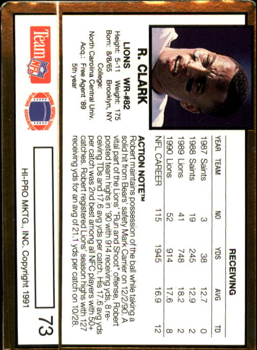 1991 Action Packed #73 Robert Clark back image