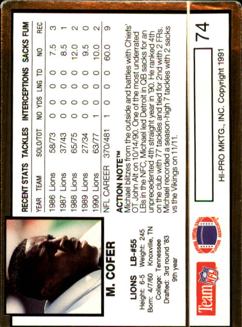 1991 Action Packed #74 Michael Cofer back image
