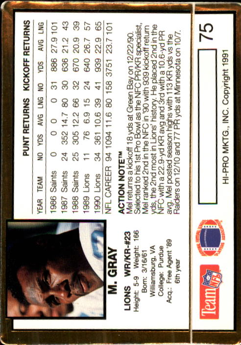 1991 Action Packed #75 Mel Gray back image