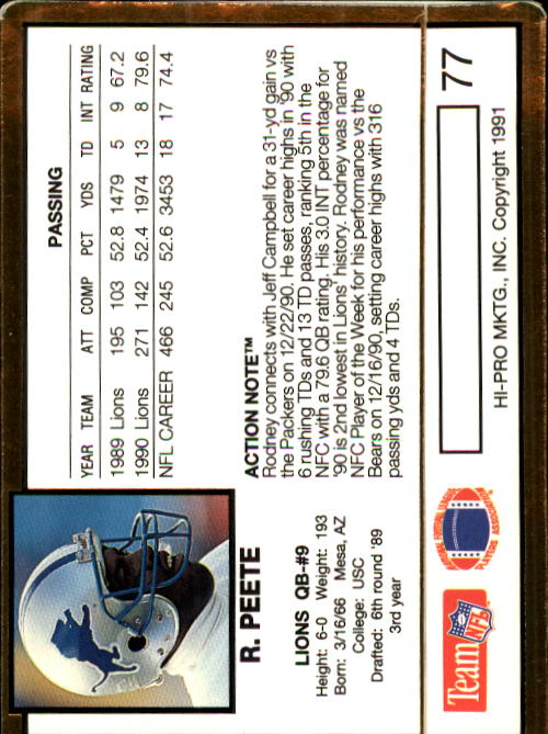 1991 Action Packed #77 Rodney Peete back image