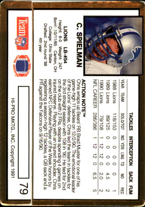 1991 Action Packed #79 Chris Spielman back image