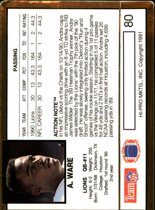 1991 Action Packed #80 Andre Ware back image
