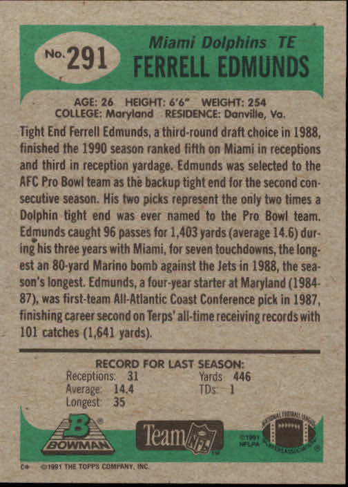 1991 Bowman #291 Ferrell Edmunds back image