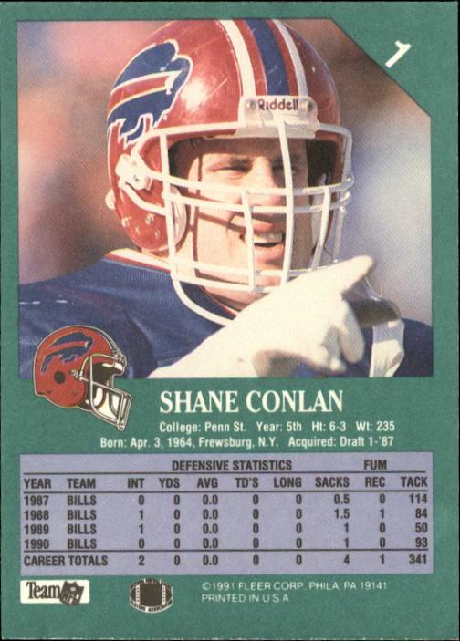 1991 Fleer #1 Shane Conlan back image