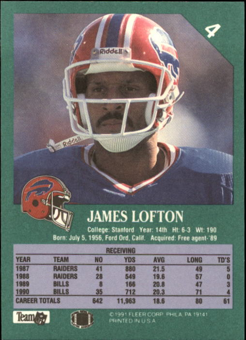 1991 Fleer #4 James Lofton back image