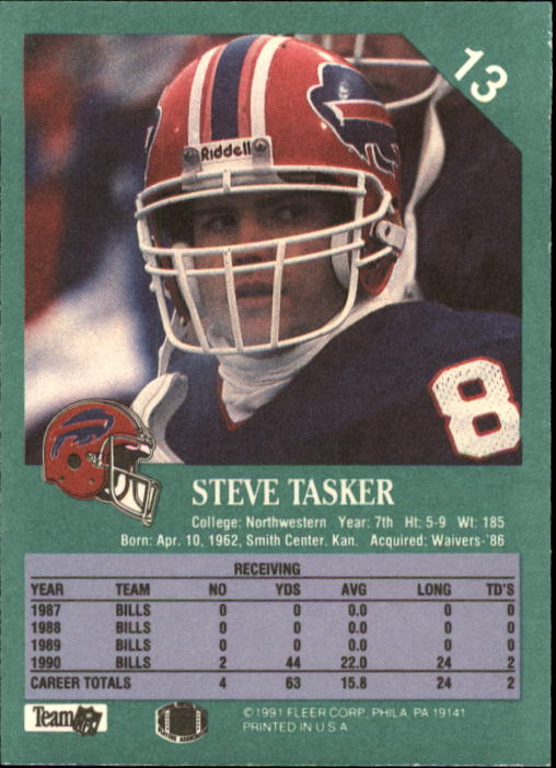 1991 Fleer Football Card  13 Steve Tasker. Front. Back 05f85ead5