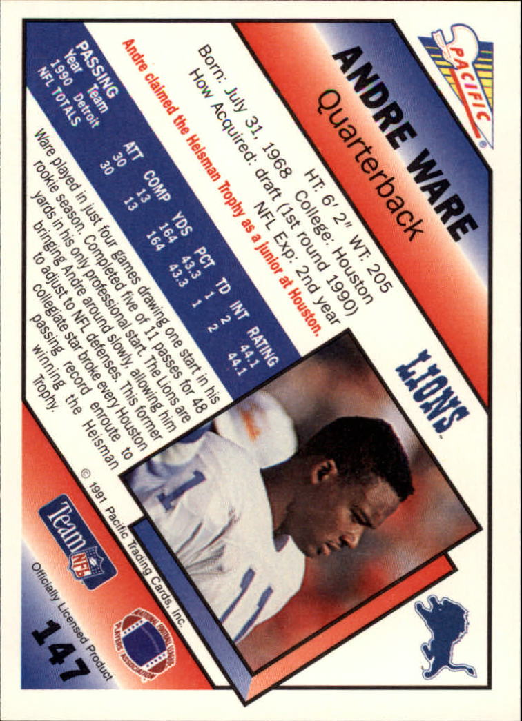1991 Pacific #147 Andre Ware back image