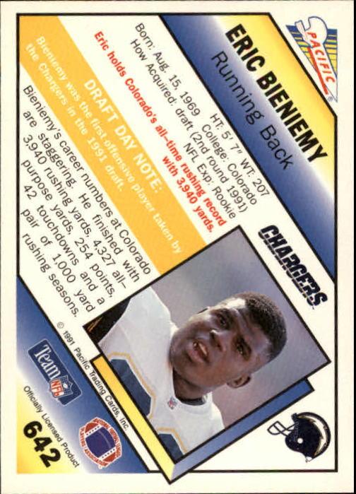 1991 Pacific #642 Eric Bieniemy RC back image