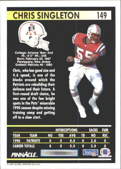 1991 Pinnacle #149 Chris Singleton back image