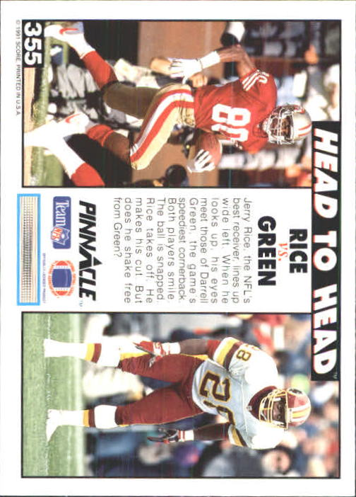 1991 Pinnacle #355 Jerry Rice/Darr.Green HH back image