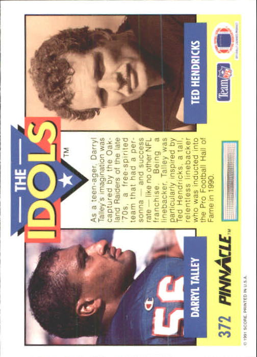 1991 Pinnacle #372 Darryl Talley IDOL back image