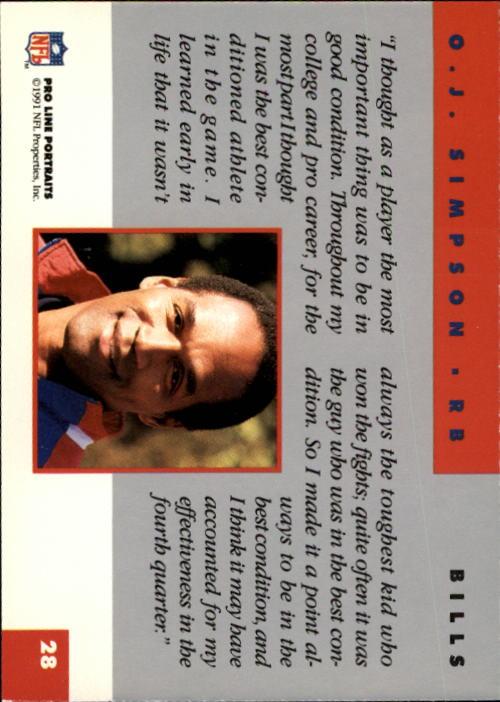 1991 Pro Line Portraits #28 O.J.Simpson RET back image