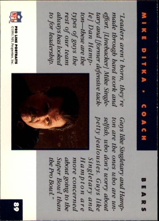 1991 Pro Line Portraits #89 Mike Ditka CO back image