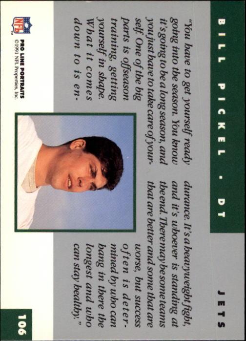 1991 Pro Line Portraits #106 Bill Pickel back image