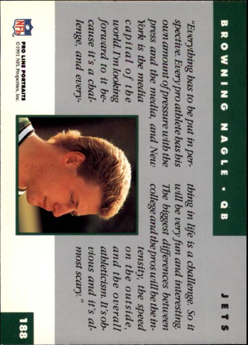 1991 Pro Line Portraits #188 Browning Nagle RC back image