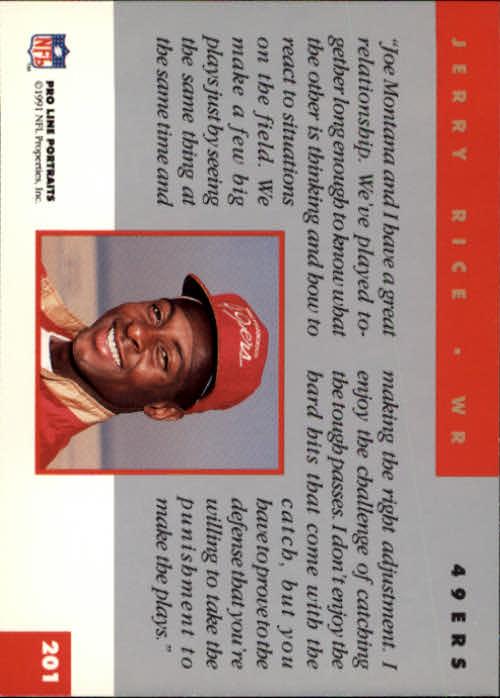 1991 Pro Line Portraits #201 Jerry Rice back image