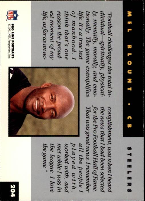 1991 Pro Line Portraits #204 Mel Blount RET back image