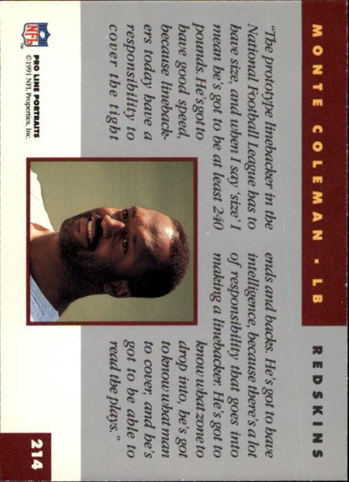 1991 Pro Line Portraits #214 Monte Coleman back image