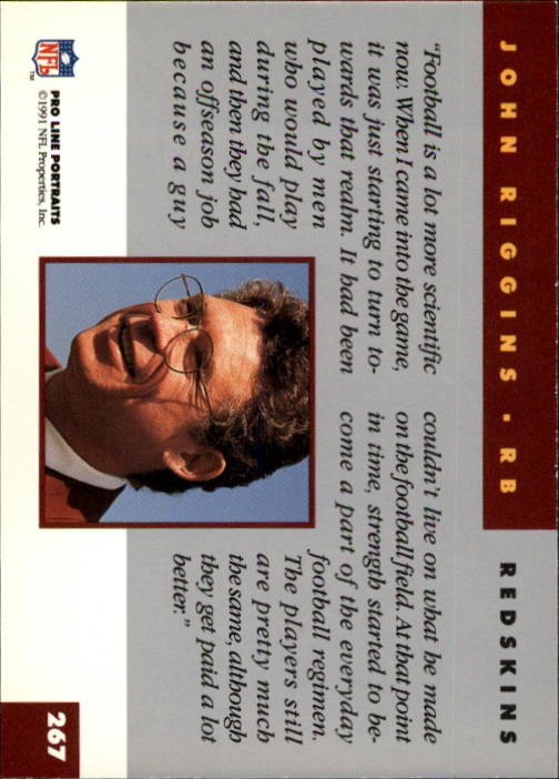 1991 Pro Line Portraits #267 John Riggins RET back image