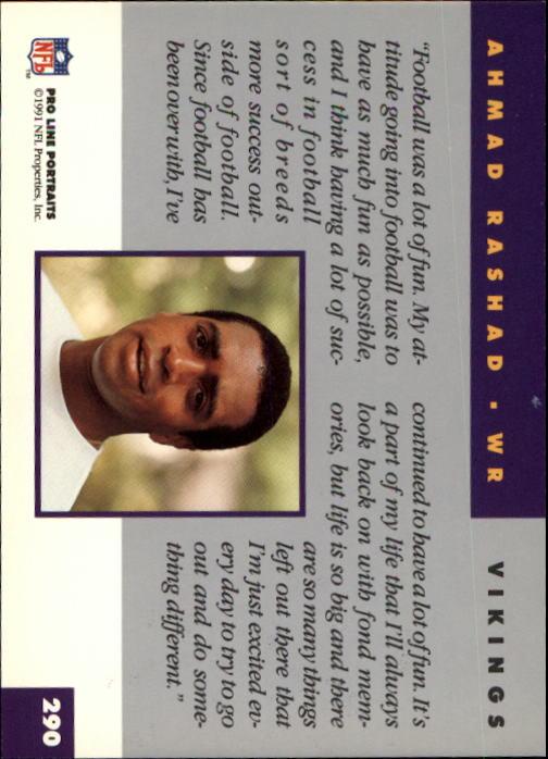 1991 Pro Line Portraits #290 Ahmad Rashad RET back image